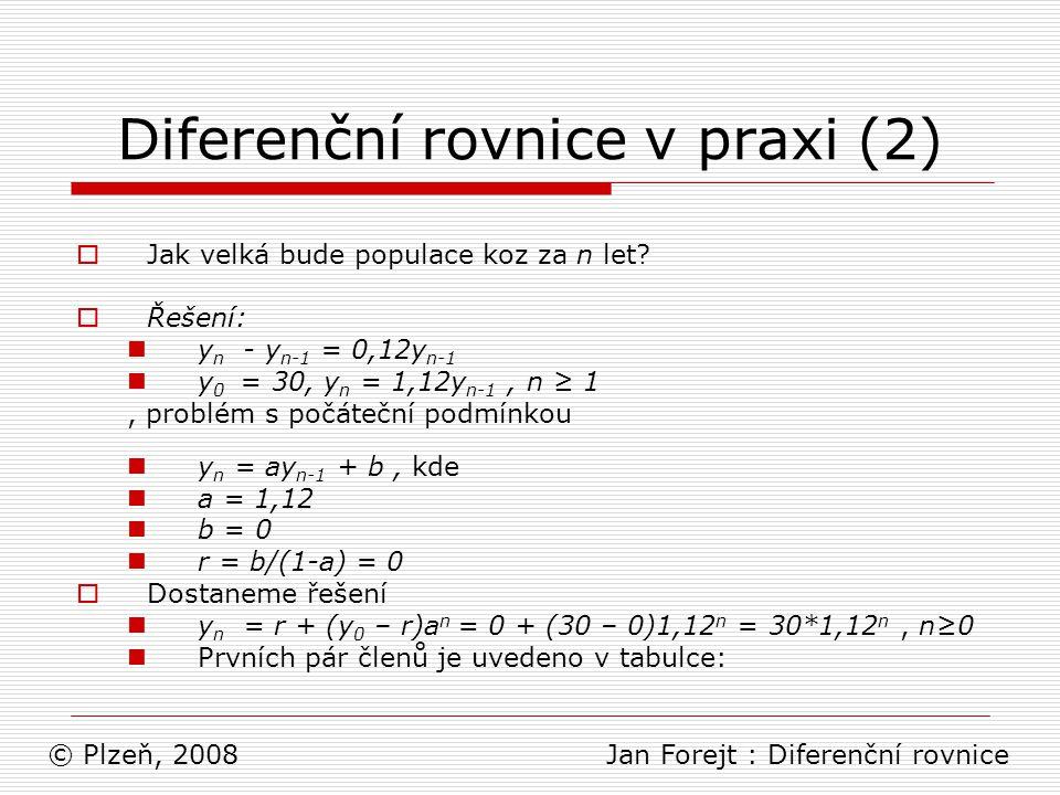 Diferenční rovnice v praxi (2)  Jak velká bude populace koz za n let?  Řešení: y n - y n-1 = 0,12y n-1 y 0 = 30, y n = 1,12y n-1, n ≥ 1, problém s p