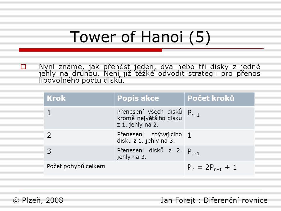 Tower of Hanoi (6)  Tabulka ukazuje danou strategii a dle ní lze spočítat požadovaný počet přesunů pro libovolný počet disků.