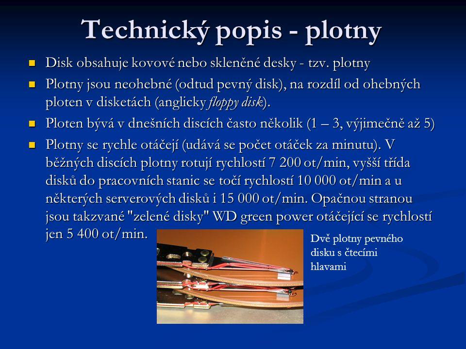 Technický popis - plotny Disk obsahuje kovové nebo skleněné desky - tzv.