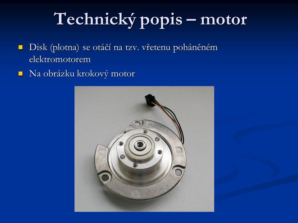 Technický popis – motor Disk (plotna) se otáčí na tzv.