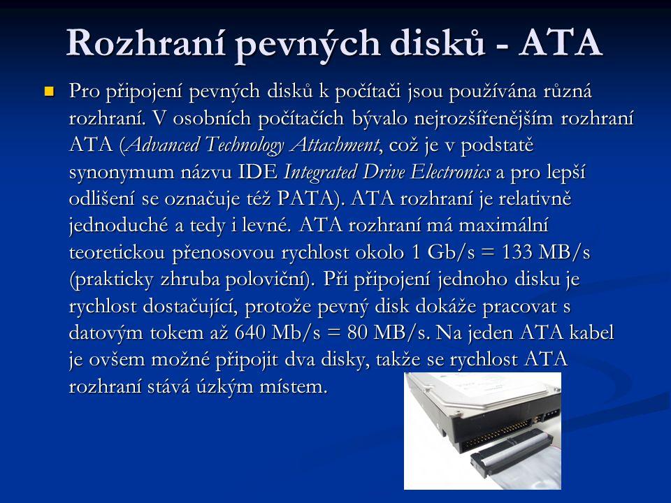 Rozhraní pevných disků - ATA Pro připojení pevných disků k počítači jsou používána různá rozhraní.