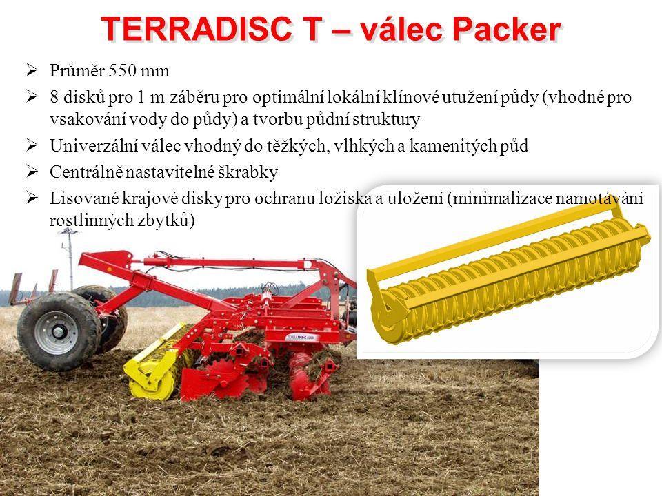 TERRADISC T – válec Packer TERRADISC T – válec Packer  Průměr 550 mm  8 disků pro 1 m záběru pro optimální lokální klínové utužení půdy (vhodné pro