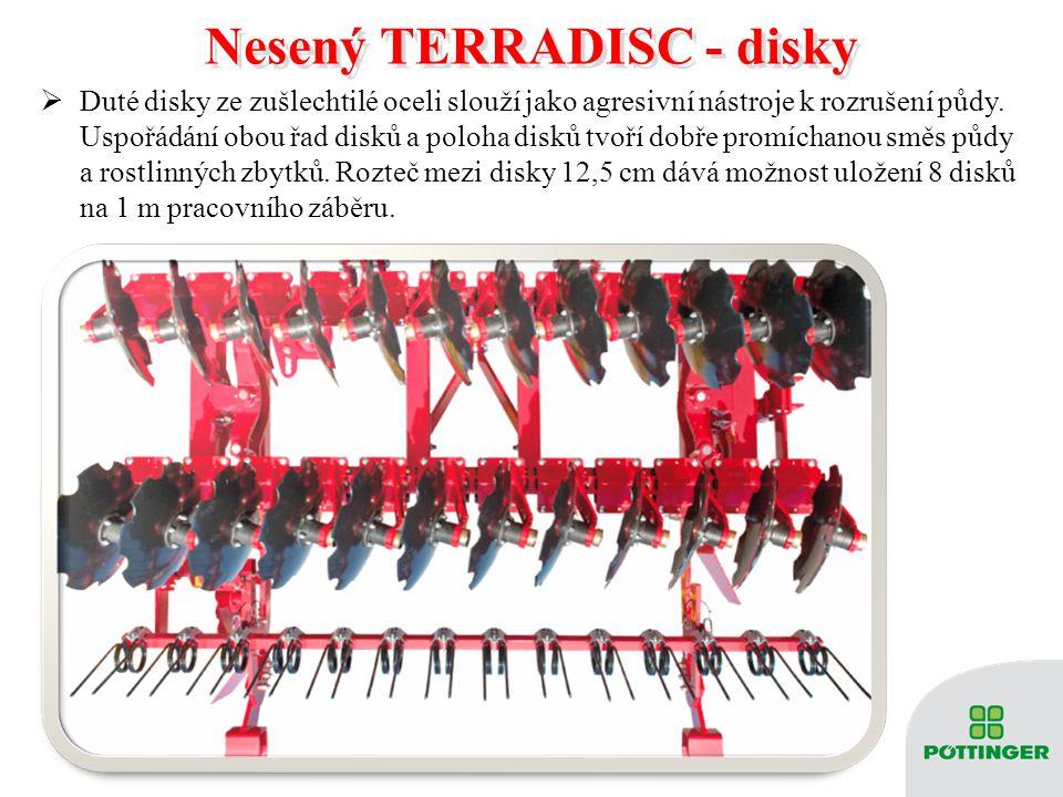 Nesený TERRADISC - disky Nesený TERRADISC - disky  Duté disky ze zušlechtilé oceli slouží jako agresivní nástroje k rozrušení půdy. Uspořádání obou ř