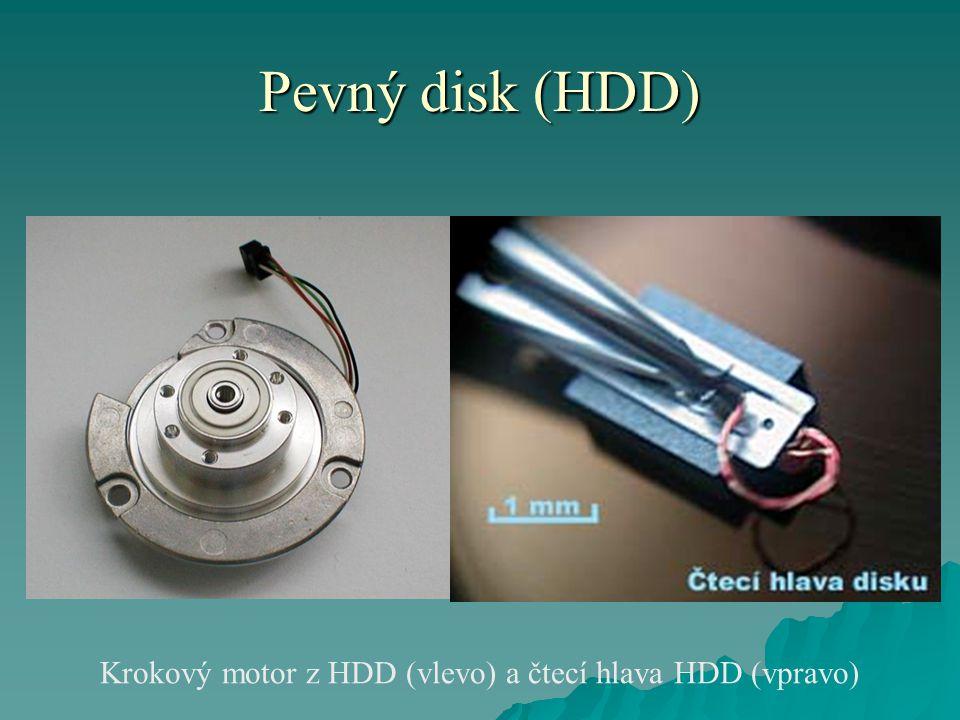 Pevný disk (HDD) Krokový motor z HDD (vlevo) a čtecí hlava HDD (vpravo)