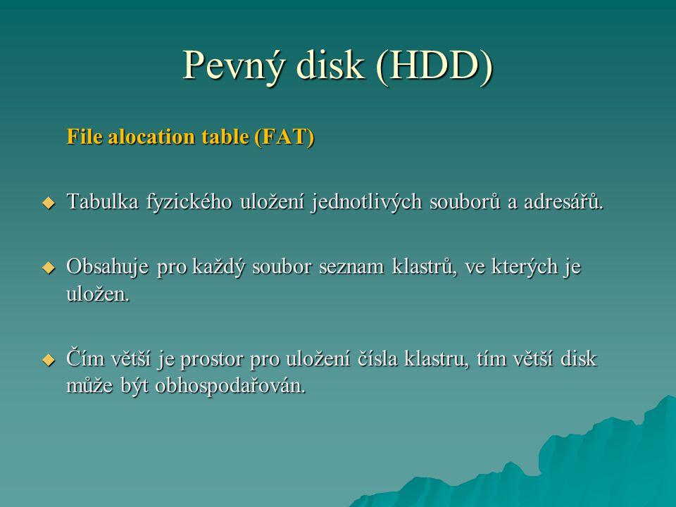 Pevný disk (HDD) File alocation table (FAT)  Tabulka fyzického uložení jednotlivých souborů a adresářů.