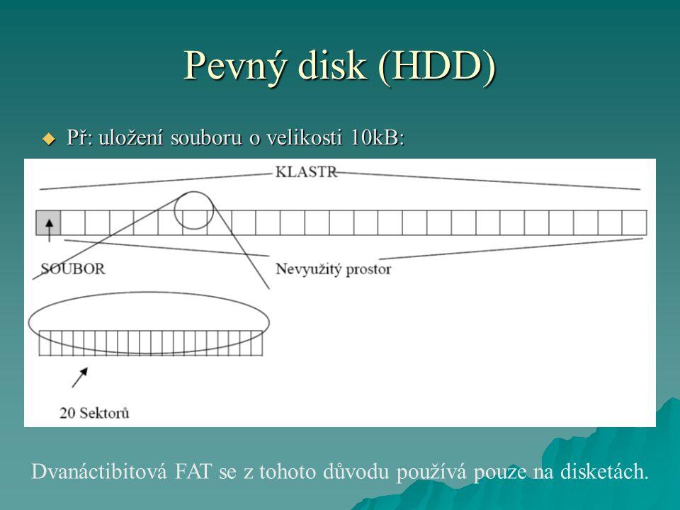 Pevný disk (HDD)  Př: uložení souboru o velikosti 10kB: Dvanáctibitová FAT se z tohoto důvodu používá pouze na disketách.