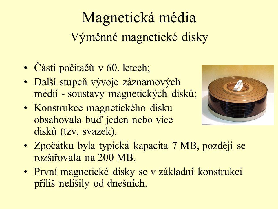 Magnetická média Výměnné magnetické disky Částí počítačů v 60. letech; Další stupeň vývoje záznamových médií - soustavy magnetických disků; Konstrukce