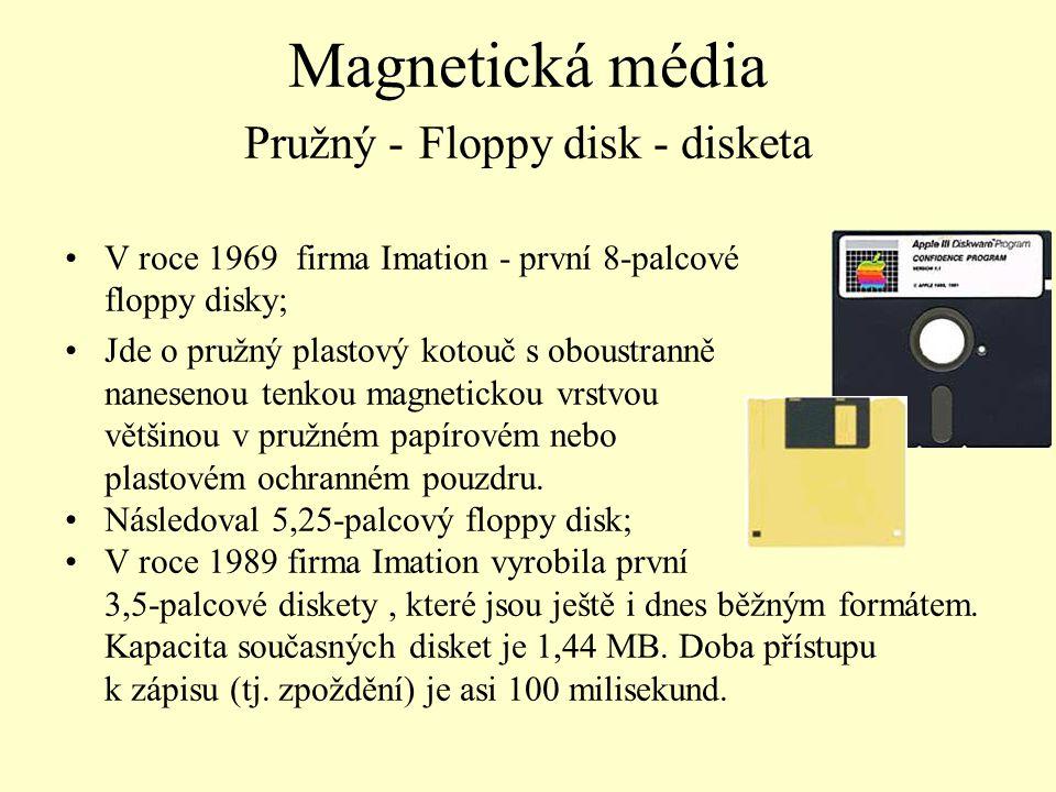 Magnetická média Pružný - Floppy disk - disketa V roce 1969 firma Imation - první 8-palcové floppy disky; Jde o pružný plastový kotouč s oboustranně n