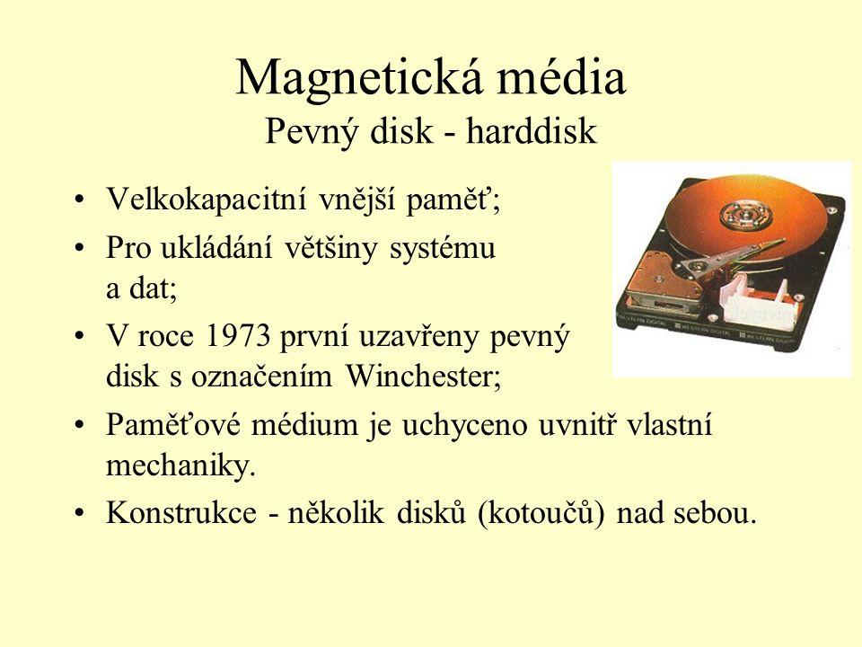 Magnetická média Pevný disk - harddisk Velkokapacitní vnější paměť; Pro ukládání většiny systému a dat; V roce 1973 první uzavřeny pevný disk s označe