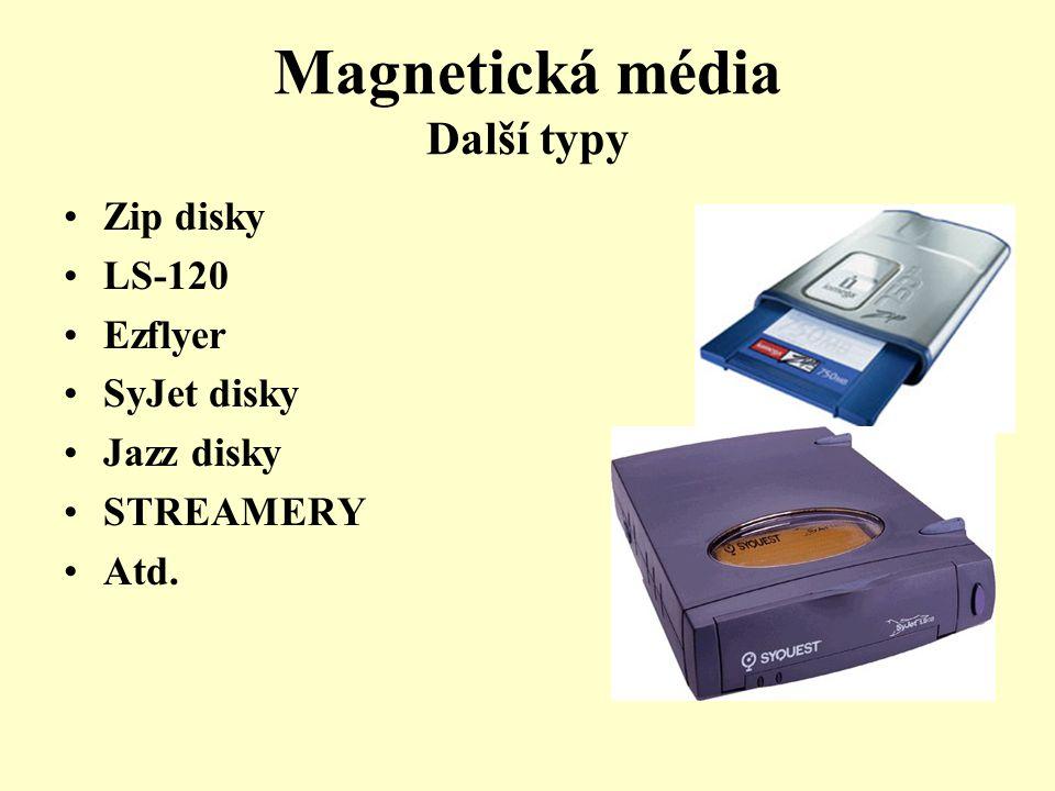 Magnetická média Další typy Zip disky LS-120 Ezflyer SyJet disky Jazz disky STREAMERY Atd.