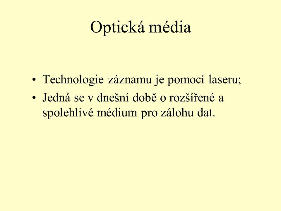 Optická média Technologie záznamu je pomocí laseru; Jedná se v dnešní době o rozšířené a spolehlivé médium pro zálohu dat.