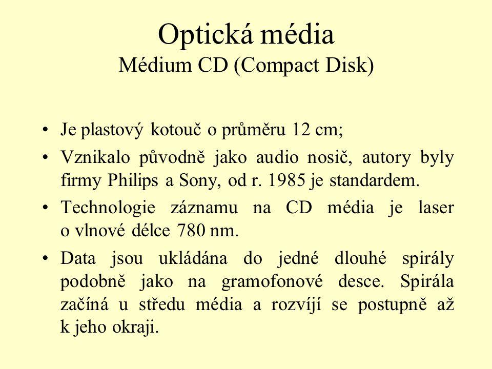 Optická média Médium CD (Compact Disk) Je plastový kotouč o průměru 12 cm; Vznikalo původně jako audio nosič, autory byly firmy Philips a Sony, od r.