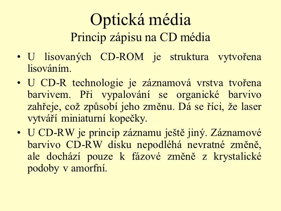 Optická média Princip zápisu na CD média U lisovaných CD-ROM je struktura vytvořena lisováním. U CD-R technologie je záznamová vrstva tvořena barvivem