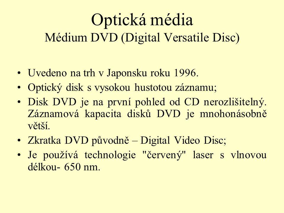 Optická média Médium DVD (Digital Versatile Disc) Uvedeno na trh v Japonsku roku 1996. Optický disk s vysokou hustotou záznamu; Disk DVD je na první p