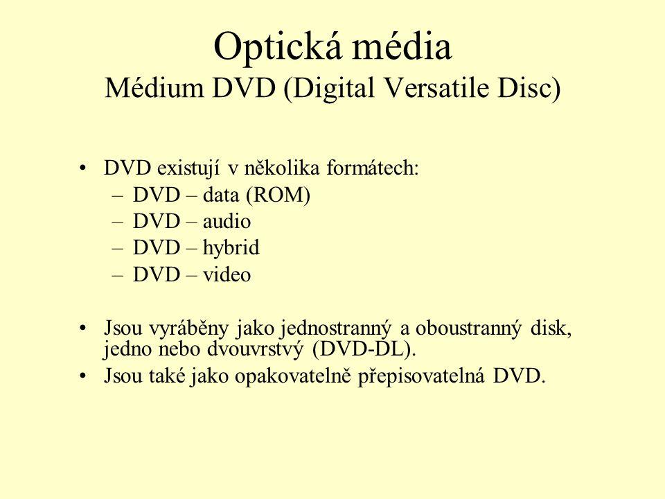Optická média Médium DVD (Digital Versatile Disc) DVD existují v několika formátech: –DVD – data (ROM) –DVD – audio –DVD – hybrid –DVD – video Jsou vy