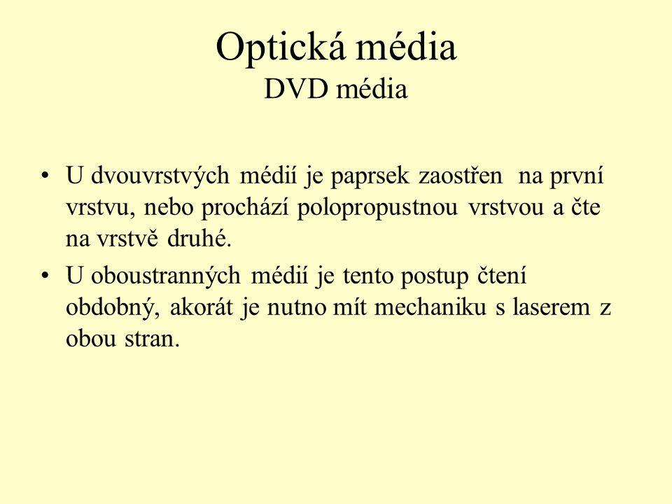 Optická média DVD média U dvouvrstvých médií je paprsek zaostřen na první vrstvu, nebo prochází polopropustnou vrstvou a čte na vrstvě druhé. U oboust