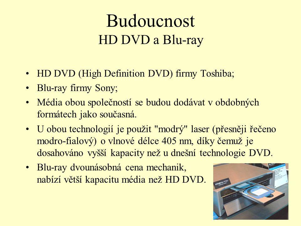 Budoucnost HD DVD a Blu-ray HD DVD (High Definition DVD) firmy Toshiba; Blu-ray firmy Sony; Média obou společností se budou dodávat v obdobných formát