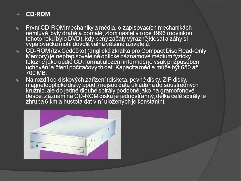  CD-ROM  První CD-ROM mechaniky a média, o zapisovacích mechanikách nemluvě, byly drahé a pomalé; zlom nastal v roce 1996 (novinkou tohoto roku bylo