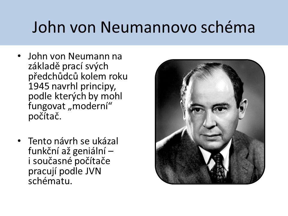"""John von Neumannovo schéma John von Neumann na základě prací svých předchůdců kolem roku 1945 navrhl principy, podle kterých by mohl fungovat """"moderní"""