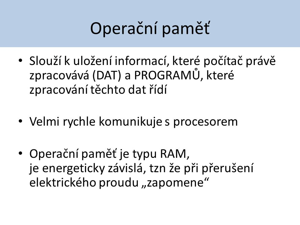 Operační paměti RAM