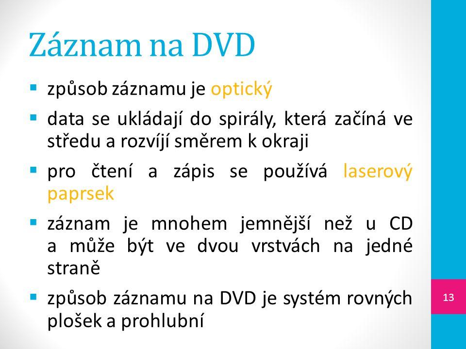 Záznam na DVD  způsob záznamu je optický  data se ukládají do spirály, která začíná ve středu a rozvíjí směrem k okraji  pro čtení a zápis se použí
