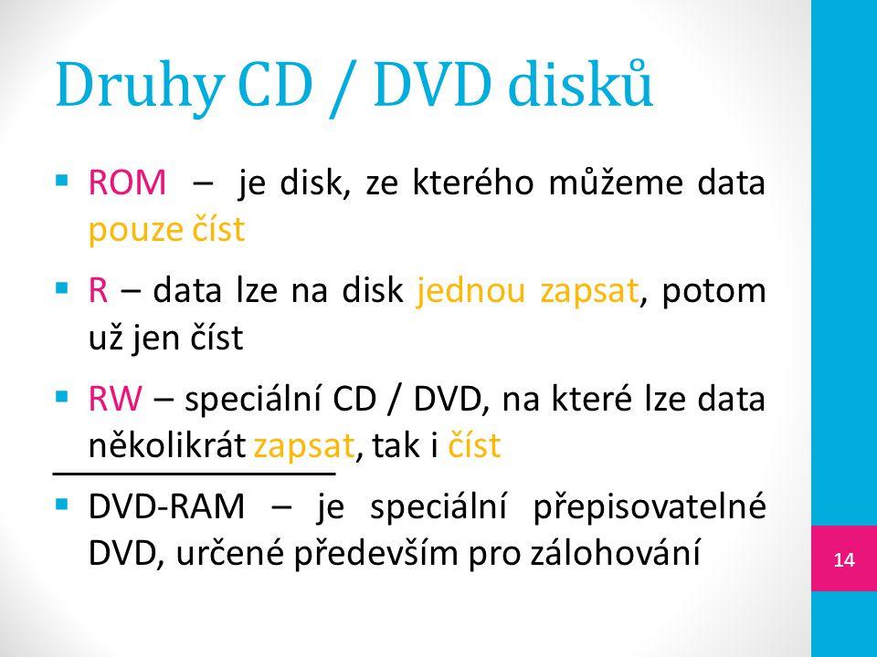 Druhy CD / DVD disků  ROM – je disk, ze kterého můžeme data pouze číst  R – data lze na disk jednou zapsat, potom už jen číst  RW – speciální CD /