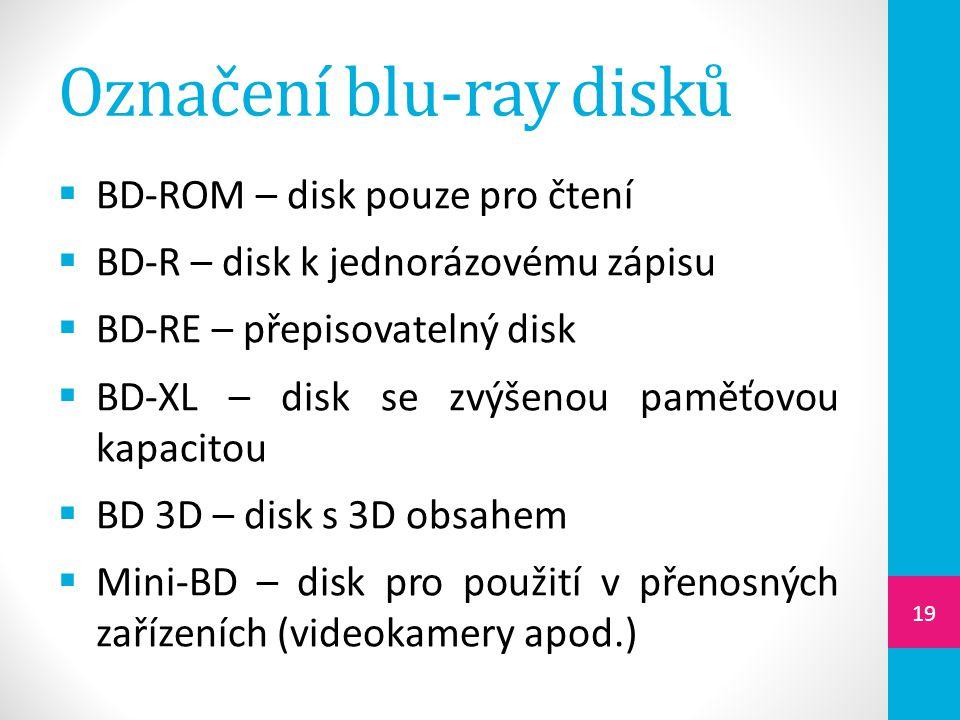Označení blu-ray disků  BD-ROM – disk pouze pro čtení  BD-R – disk k jednorázovému zápisu  BD-RE – přepisovatelný disk  BD-XL – disk se zvýšenou p