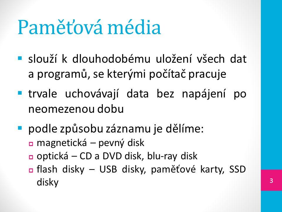 Druhy CD / DVD disků  ROM – je disk, ze kterého můžeme data pouze číst  R – data lze na disk jednou zapsat, potom už jen číst  RW – speciální CD / DVD, na které lze data několikrát zapsat, tak i číst  DVD-RAM – je speciální přepisovatelné DVD, určené především pro zálohování 14