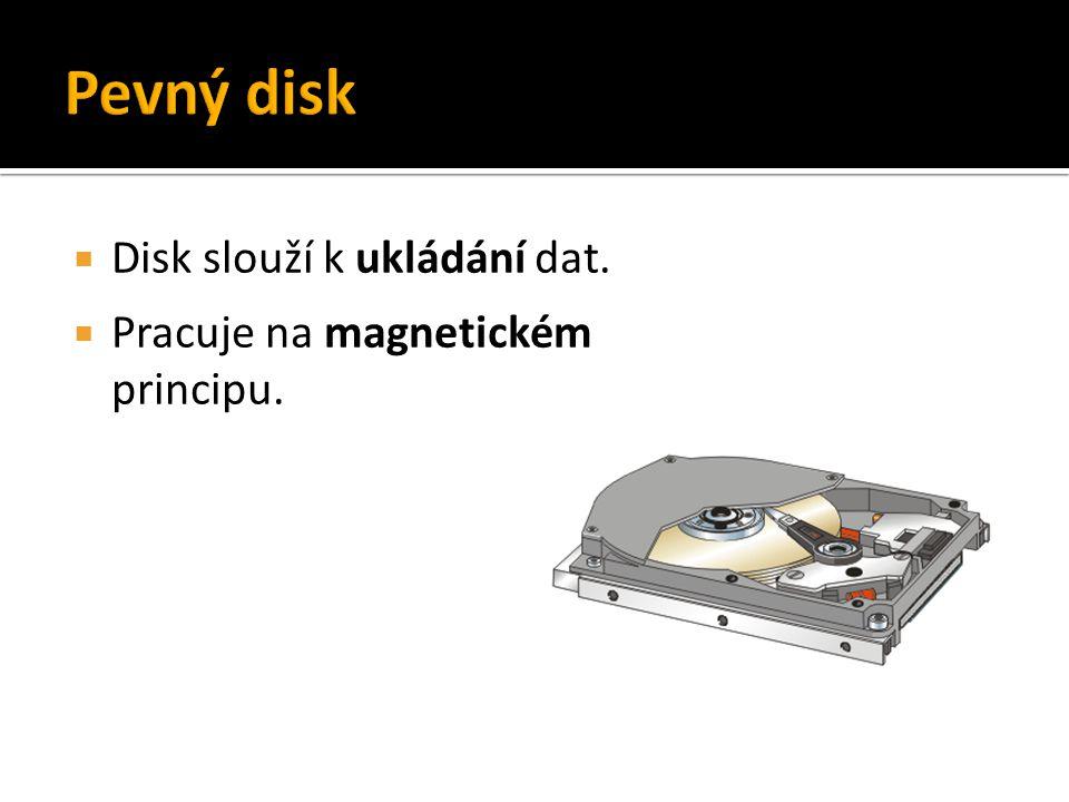  Disk slouží k ukládání dat.  Pracuje na magnetickém principu.