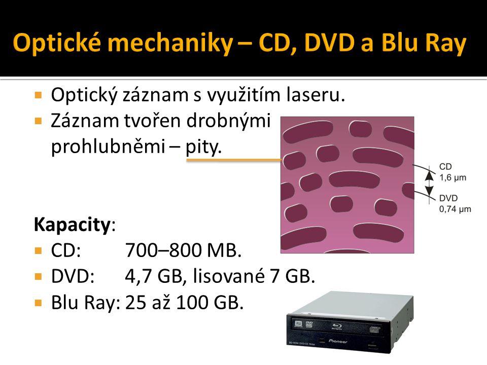  Optický záznam s využitím laseru.  Záznam tvořen drobnými prohlubněmi – pity. Kapacity:  CD: 700–800 MB.  DVD: 4,7 GB, lisované 7 GB.  Blu Ray:2