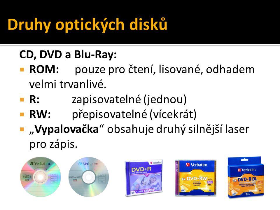 """CD, DVD a Blu-Ray:  ROM: pouze pro čtení, lisované, odhadem velmi trvanlivé.  R: zapisovatelné (jednou)  RW:přepisovatelné (vícekrát)  """"Vypalovačk"""