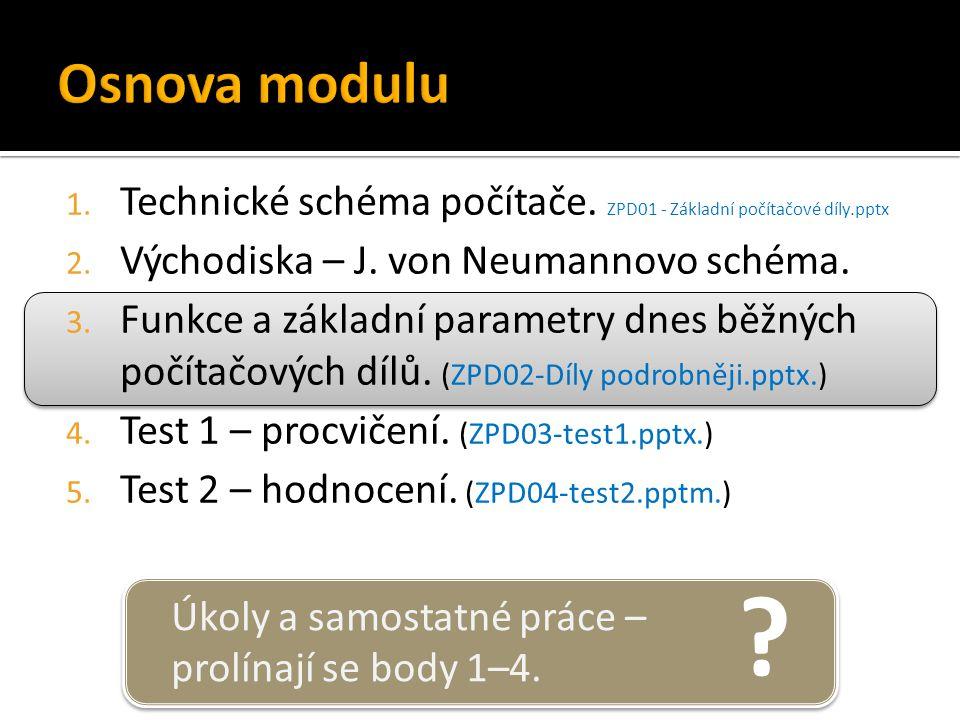 ? Úkoly a samostatné práce – prolínají se body 1–4. 1. Technické schéma počítače. ZPD01 - Základní počítačové díly.pptx 2. Východiska – J. von Neumann