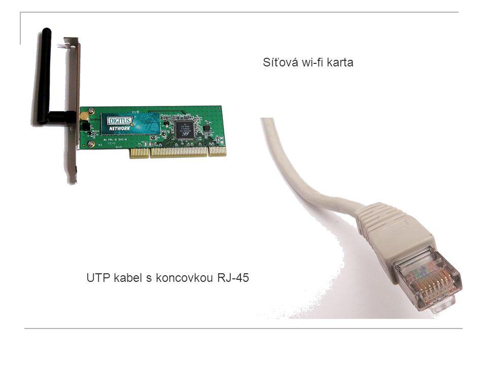 UTP kabel s koncovkou RJ-45 Síťová wi-fi karta