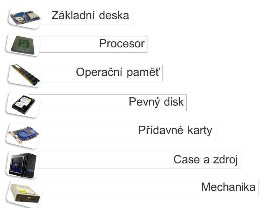 Procesor Základní deska Operační paměť Pevný disk Přídavné karty Case a zdroj Mechanika