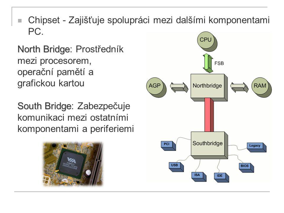 Chipset - Zajišťuje spolupráci mezi dalšími komponentami PC. South Bridge South Bridge: Zabezpečuje komunikaci mezi ostatními komponentami a periferie