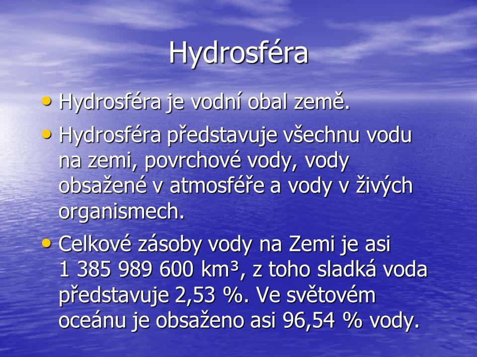 Hydrosféra Hydrosféra je vodní obal země. Hydrosféra je vodní obal země. Hydrosféra představuje všechnu vodu na zemi, povrchové vody, vody obsažené v