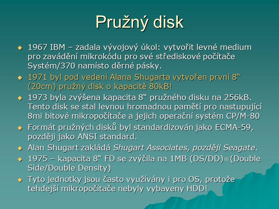 Pružný disk  1967 IBM – zadala vývojový úkol: vytvořit levné medium pro zavádění mikrokódu pro své střediskové počítače Systém/370 namísto děrné pásky.