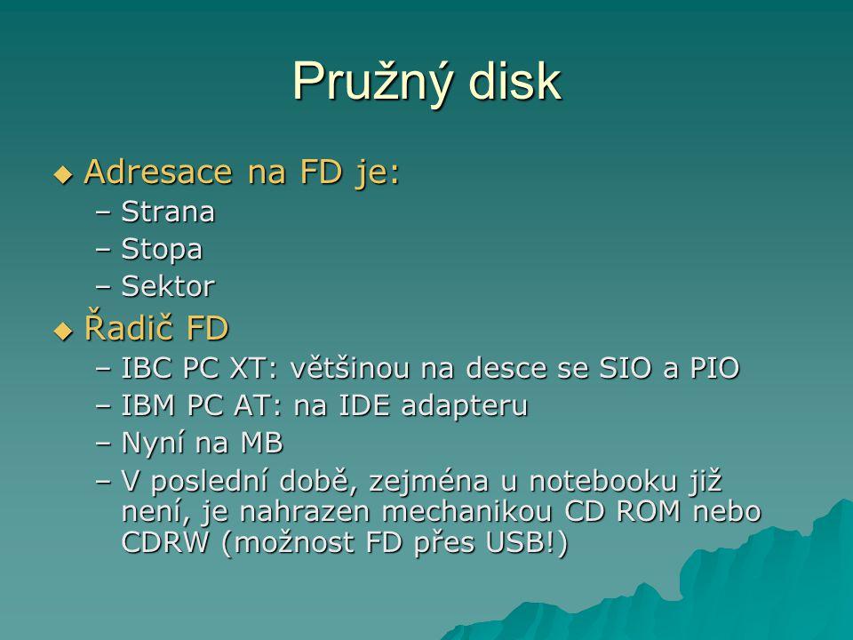 Pružný disk  Adresace na FD je: –Strana –Stopa –Sektor  Řadič FD –IBC PC XT: většinou na desce se SIO a PIO –IBM PC AT: na IDE adapteru –Nyní na MB –V poslední době, zejména u notebooku již není, je nahrazen mechanikou CD ROM nebo CDRW (možnost FD přes USB!)
