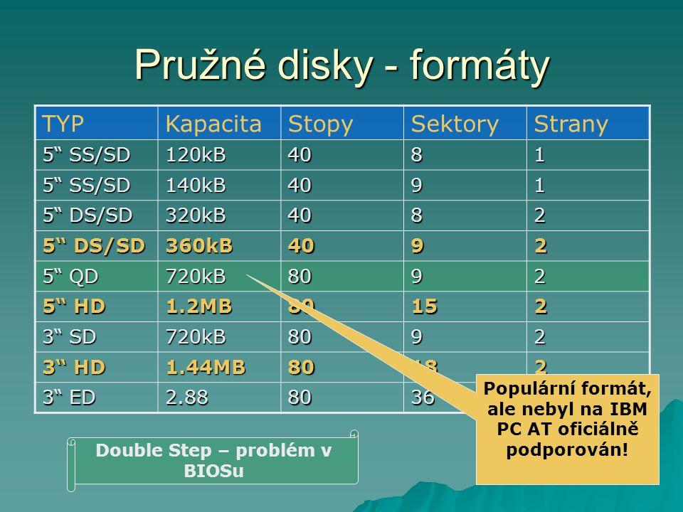 Pružné disky - formáty TYPKapacitaStopySektoryStrany 5 SS/SD 120kB4081 140kB4091 5 DS/SD 320kB4082 360kB4092 5 QD 720kB8092 5 HD 1.2MB80152 3 SD 720kB8092 3 HD 1.44MB80182 3 ED 2.8880362 Populární formát, ale nebyl na IBM PC AT oficiálně podporován.