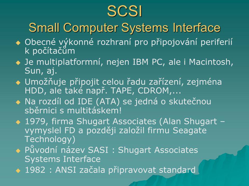 SCSI Small Computer Systems Interface   Obecné výkonné rozhraní pro připojování periferií k počítačům   Je multiplatformní, nejen IBM PC, ale i Ma