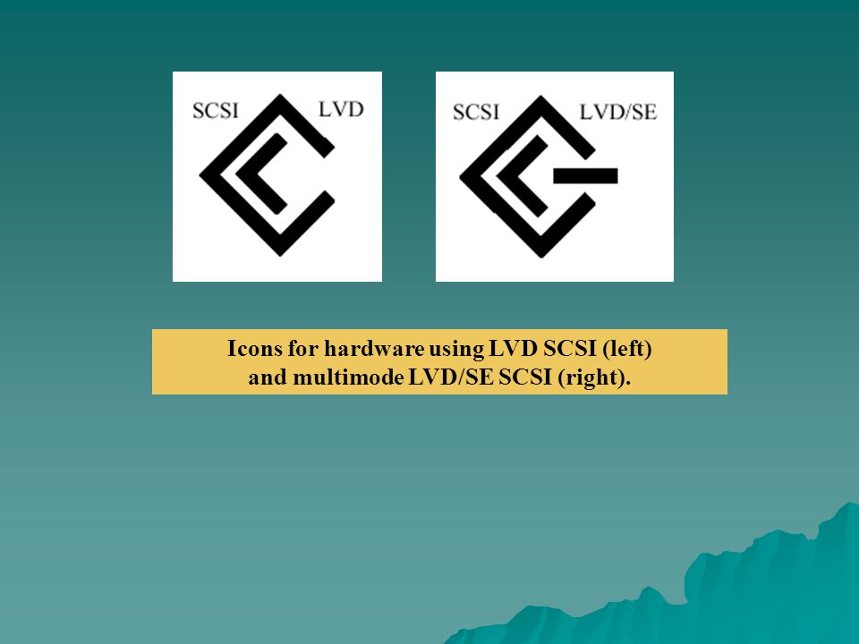 Icons for hardware using LVD SCSI (left) and multimode LVD/SE SCSI (right).