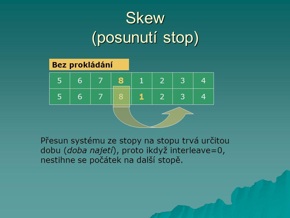 Skew (posunutí stop) 5321 8 764 532 1 8764 Přesun systému ze stopy na stopu trvá určitou dobu (doba najetí), proto ikdyž interleave=0, nestihne se poč