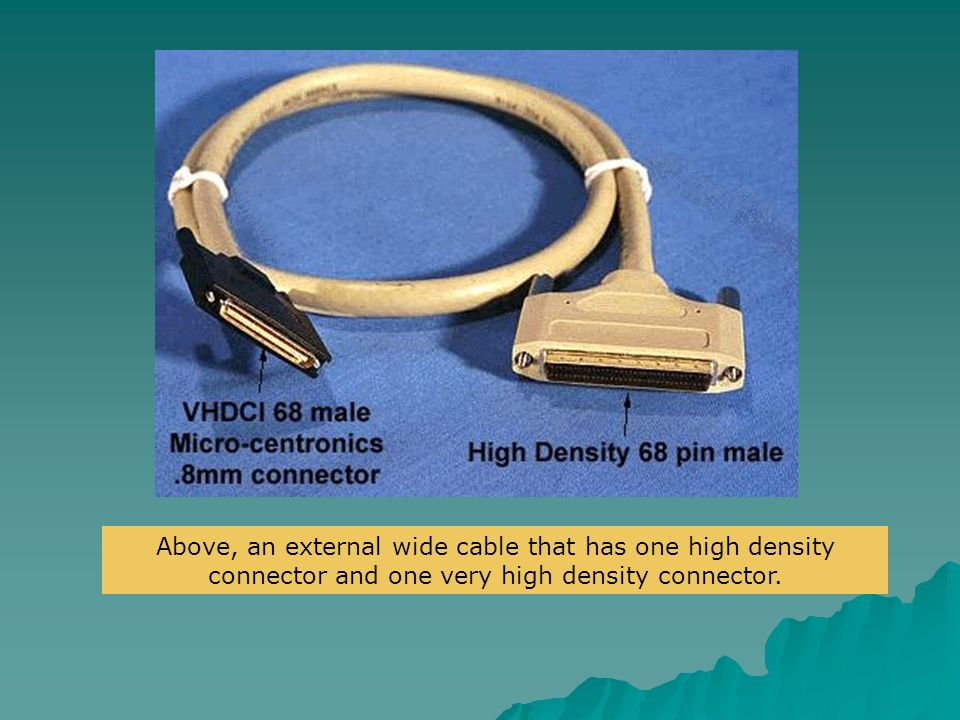 Above, an external wide cable that has one high density connector and one very high density connector.