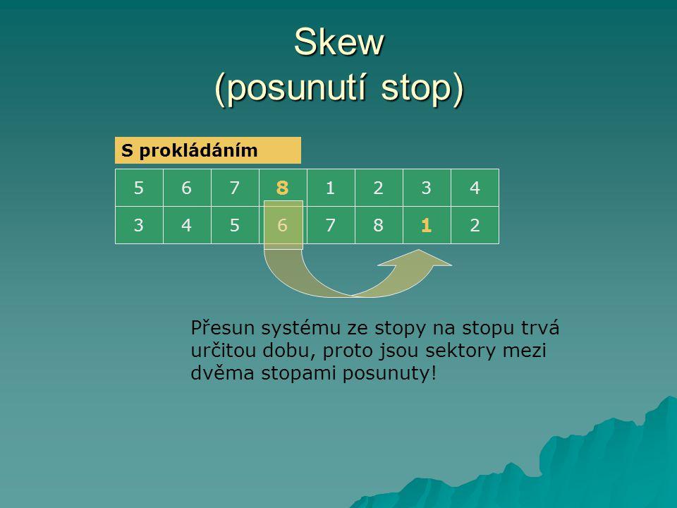 Skew (posunutí stop) 5321 8 764 3 1 876542 Přesun systému ze stopy na stopu trvá určitou dobu, proto jsou sektory mezi dvěma stopami posunuty.