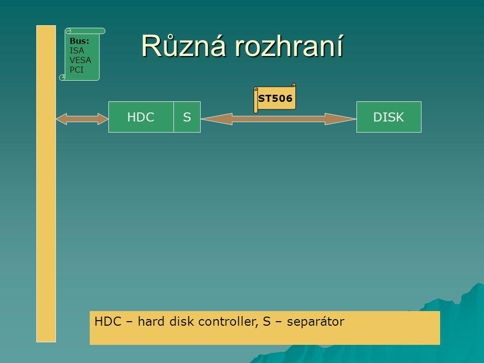 Různá rozhraní HDCSDISK ST506 Bus: ISA VESA PCI HDC – hard disk controller, S – separátor