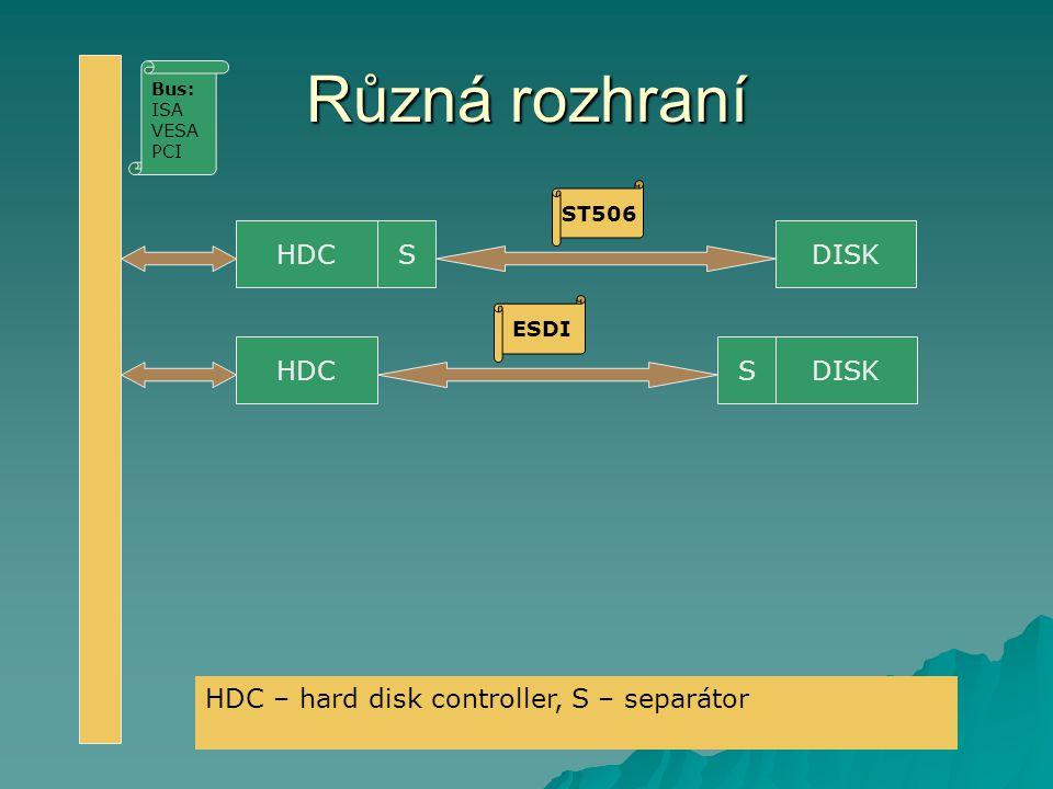Různá rozhraní HDC S SDISK ST506 ESDI Bus: ISA VESA PCI HDC – hard disk controller, S – separátor