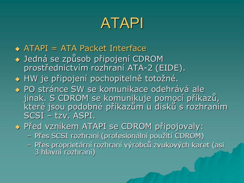 ATAPI  ATAPI = ATA Packet Interface  Jedná se způsob připojení CDROM prostřednictvím rozhraní ATA-2 (EIDE).  HW je připojení pochopitelně totožné.