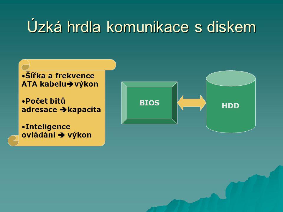 Úzká hrdla komunikace s diskem HDD BIOS Šířka a frekvence ATA kabelu  výkon Počet bitů adresace  kapacita Inteligence ovládání  výkon