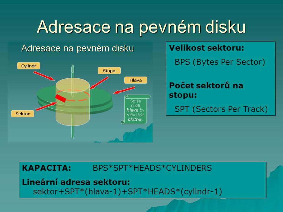 Adresace na pevném disku Velikost sektoru: BPS (Bytes Per Sector) Počet sektorů na stopu: SPT (Sectors Per Track) KAPACITA: BPS*SPT*HEADS*CYLINDERS Lineární adresa sektoru: sektor+SPT*(hlava-1)+SPT*HEADS*(cylindr-1)