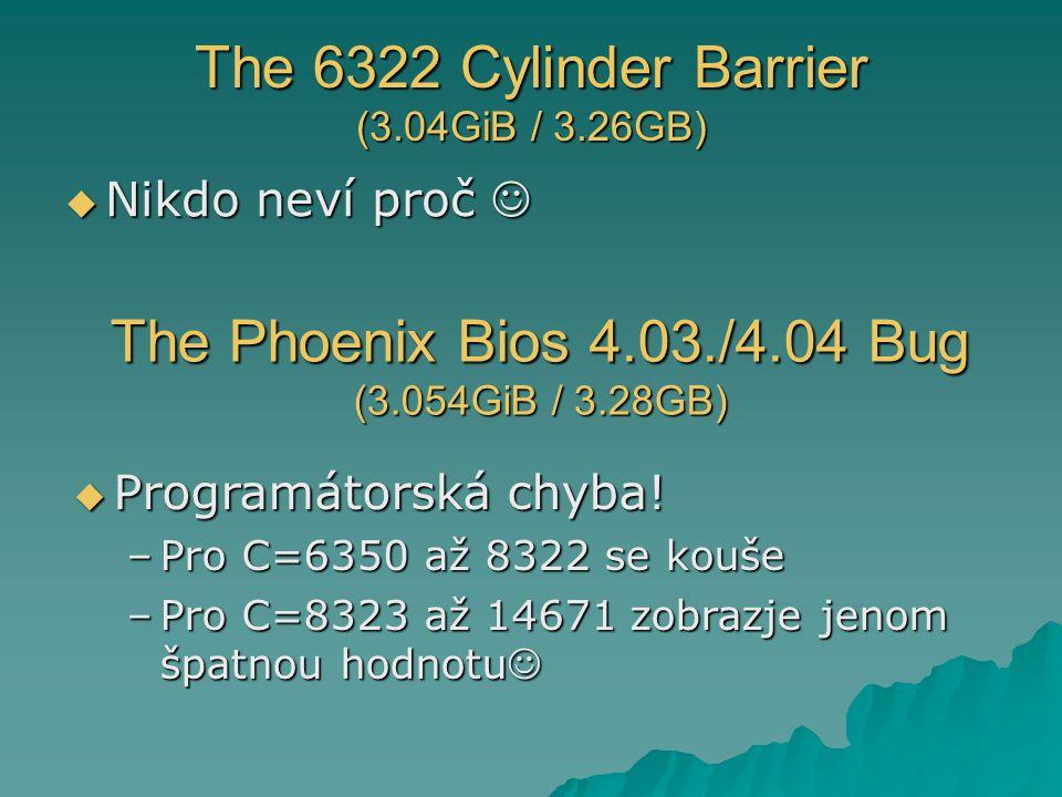 The 6322 Cylinder Barrier (3.04GiB / 3.26GB)  Nikdo neví proč  Nikdo neví proč The Phoenix Bios 4.03./4.04 Bug (3.054GiB / 3.28GB)  Programátorská chyba.